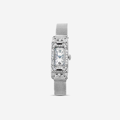 Platinum diamond and sapphire antique watch