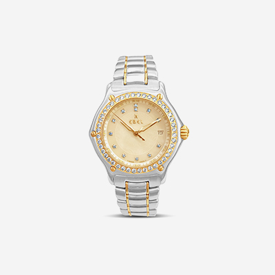 Ebel watch with diamond and bezel mother of pearl dial