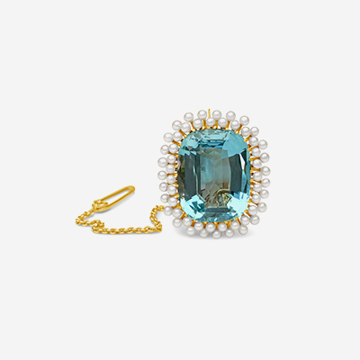 14kt cushion aqua with seed pearls