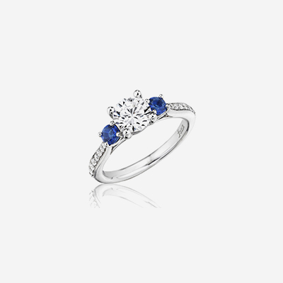 14kt sapphire and diamond engagement ring