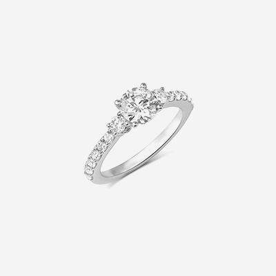 14kt three stone engagement ring