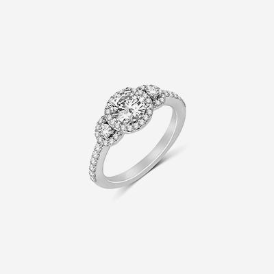 14kt three stone halo diamond engagement ring