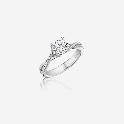 14kt twist band diamond engagement ring