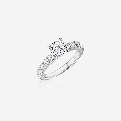 14kt hand-set French pave diamond engagement ring