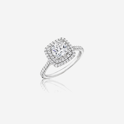 14kt diamond square halo engagement ring