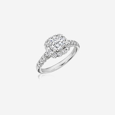 14kt cushion halo engagement ring