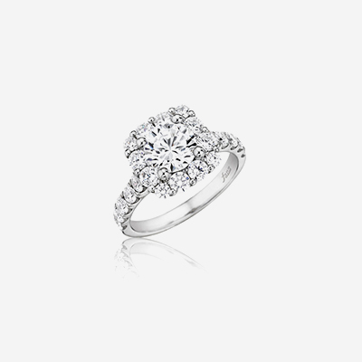 14kt cushion halo engagement ring