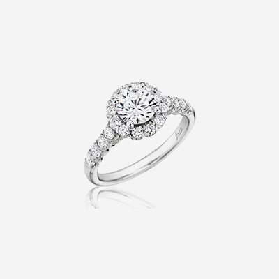 14kt diamond band with round halo engagement ring