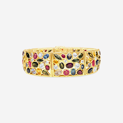 18kt multicolor sapphire and ruby bezel bracelet