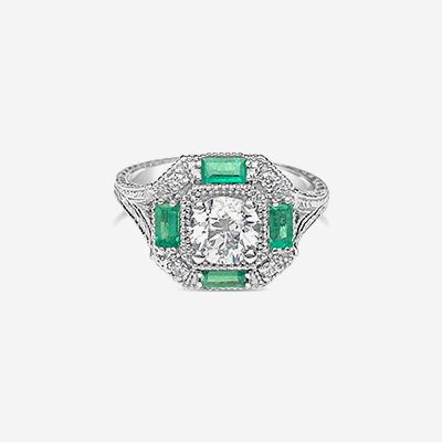 14kt emerald and diamond engagement ring