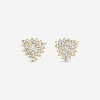 18kt trill center diamond clip earrings