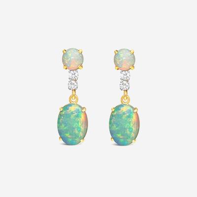 14kt opal and diamond dangle earrings