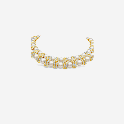 14kt pearl and diamond choker necklace
