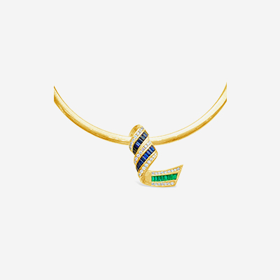 14kt sapphire, emerald and diamond slide