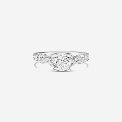 14kt old mine cut diamond engagement ring