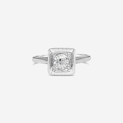 18kt round center antique diamond engagement ring