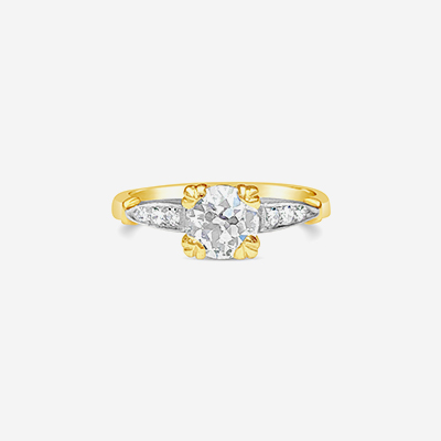 14kt two tone diamond engagement ring