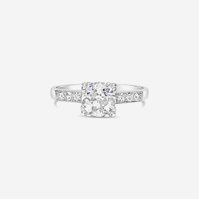 Platinum old mine cut diamond engagement ring