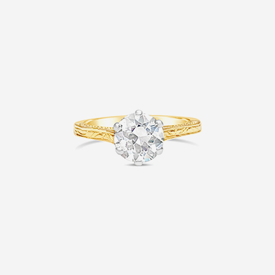 14kt euro etched engagement ring