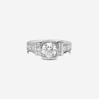 Palladium antique diamond engagement ring