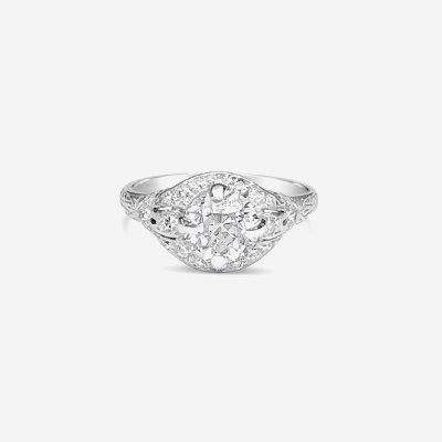 Platinum and diamond antique ring