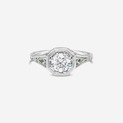 18kt diamond and tsavorite engagement ring