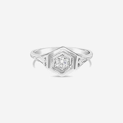 14kt antique diamond engagement ring