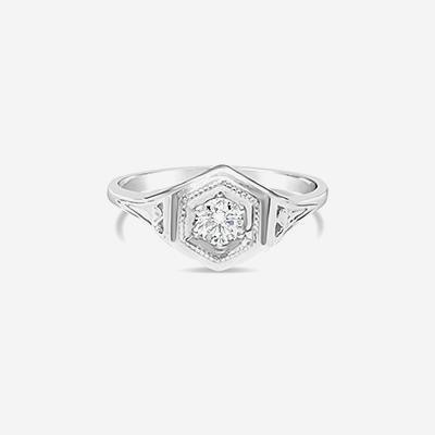 14kt antique diamond engagement ring
