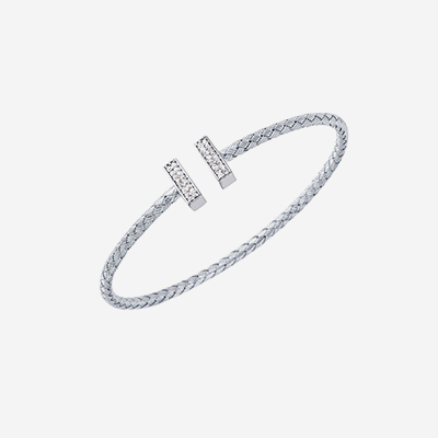Sterling silver woven bella bangle bracelet