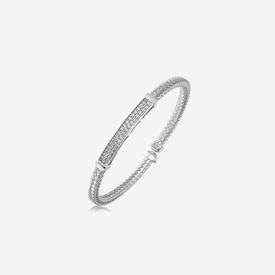 Sterling silver bangle bar bracelet