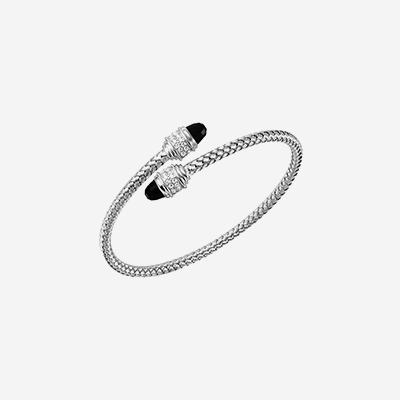 Sterling silver onyx pave bangle bracelet