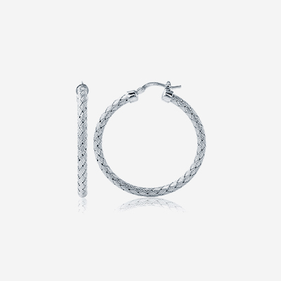 Sterling silver woven hoops