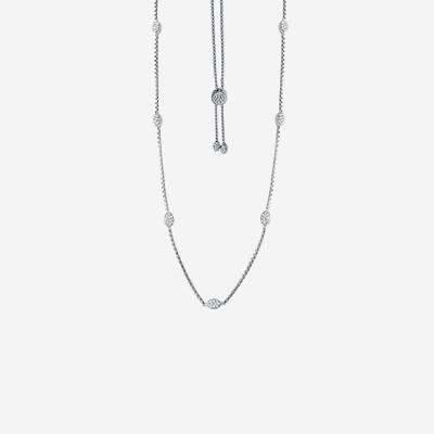 Sterling silver pave oval necklace