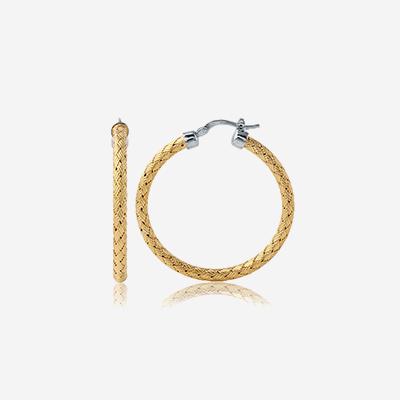 Sterling silver woven round hoop earrings
