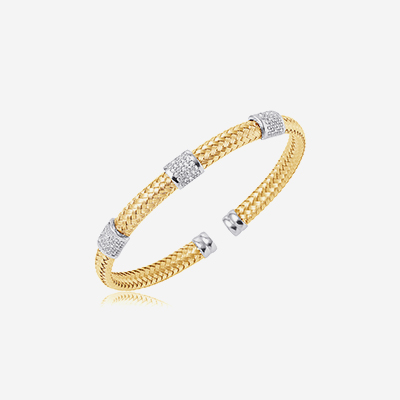 Sterling silver pave bar bangle bracelet