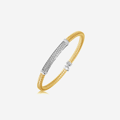 Sterling silver with cubic zirconia bangle bracelet