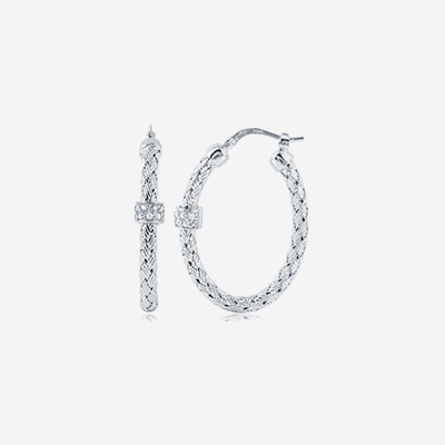 Sterling silver pave oval hoops