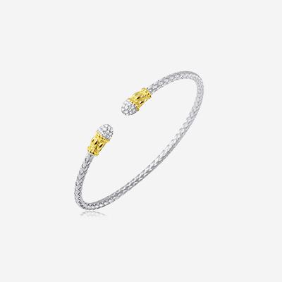 Sterling silver pave bangle bracelet