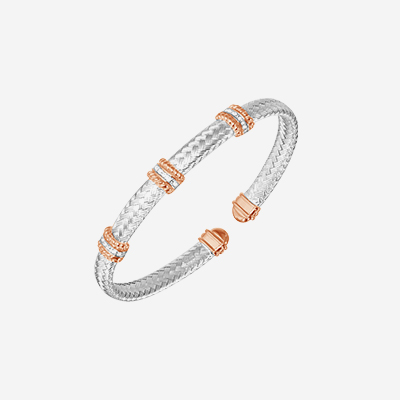 Sterling silver and rose gold bar bangle