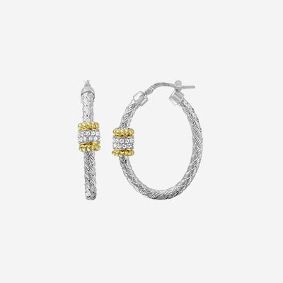 Sterling silver woven oval hoops