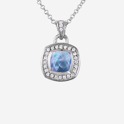 Sterling silver white gem halo pendant