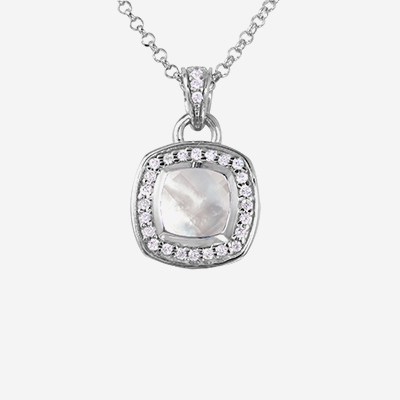Sterling silver mother of pearl halo pendant
