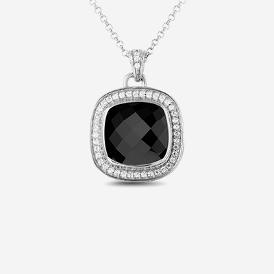 Sterling silver onyx halo pendant