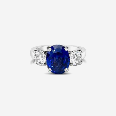 Platinum 3 Stone Oval Sapphire engagement Ring