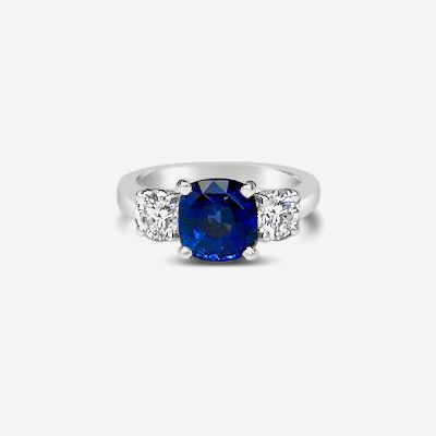 Platinum 3 Stone Cushion Sapphire engagement Ring