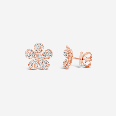 14kt pave flower studs earrings