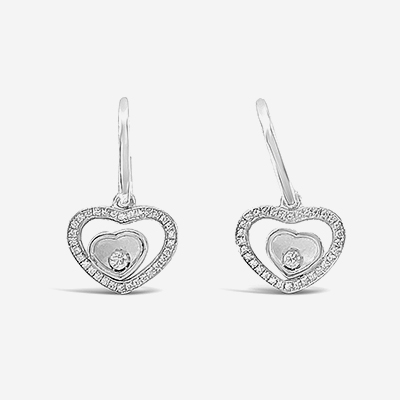 18kt Chopard Happy Sport Heart Shape Dangle Earrings