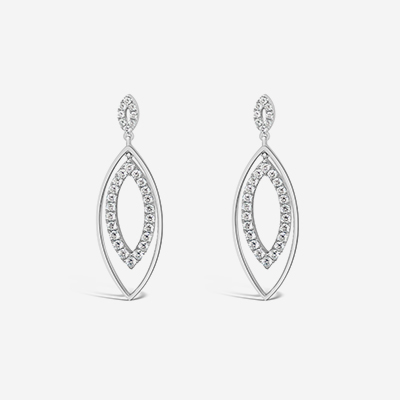 18kt marquise dangle earrings