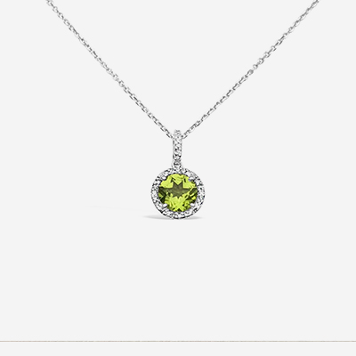 14kt round peridot with diamond halo pendant