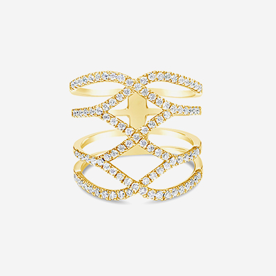 18kt diamond ribcage ring
